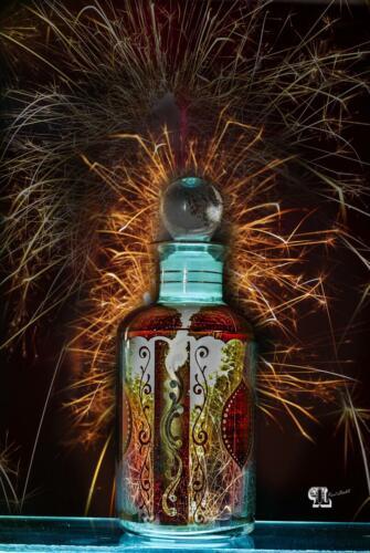 Flasche mit Wuderkerze